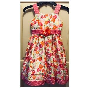 Girls' 6X Polyester Shantung Floral Print Dress